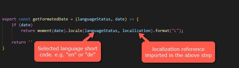 common helper function getFormatedDate