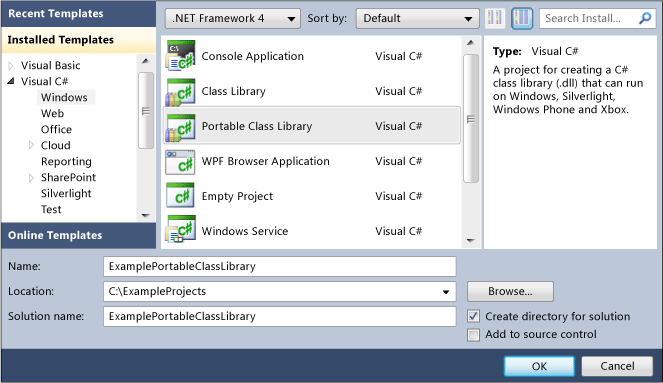 Visual Studio 2012, the Portable Class Library project